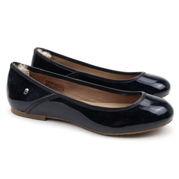 4ff04c75ed4 UGG Shoes | Antora Patent Leather Black Sheepskin Ballet Flats ...